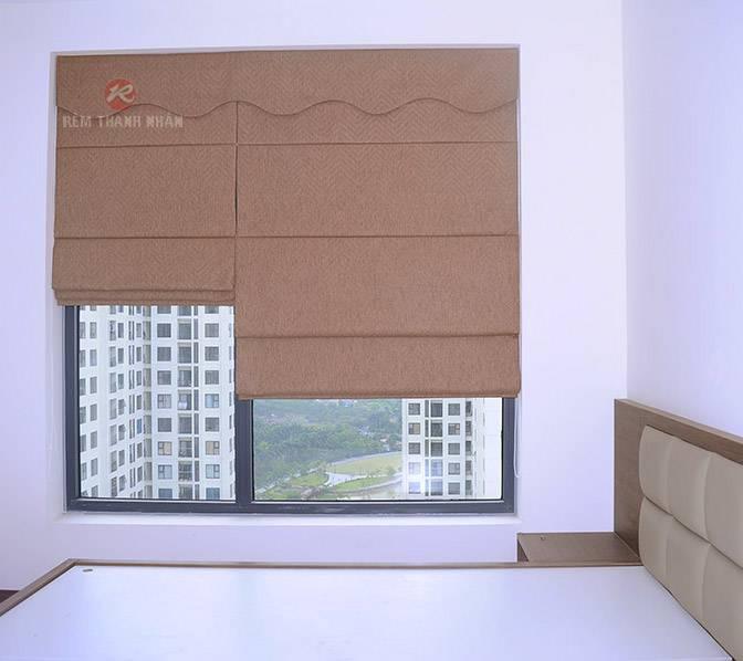 Rèm vải xếp lớp một màu lắp lọt khung