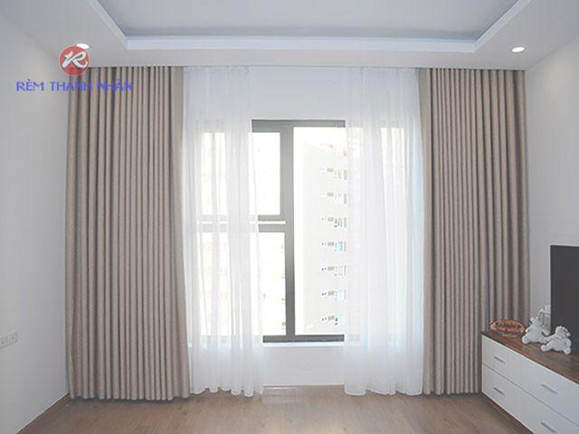 Rèm vải chất Gấm 2 lớp phi hoa văn cho phòng khách