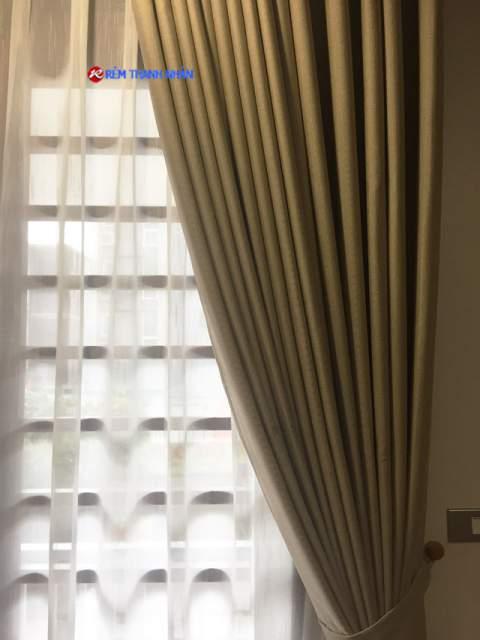 Rèm cửa 2 lớp một màu chống nắng RV-568-5 + Rèm voan xước 085-44-60