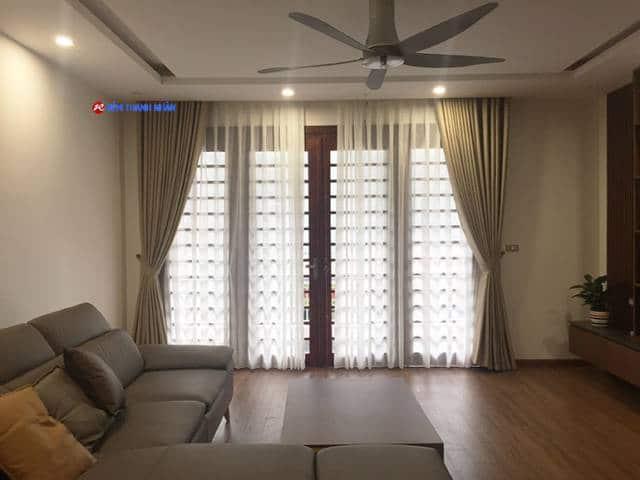 Rèm vải một màu RV-568-5 + Rèm voan trắng xước RV-085-44-60