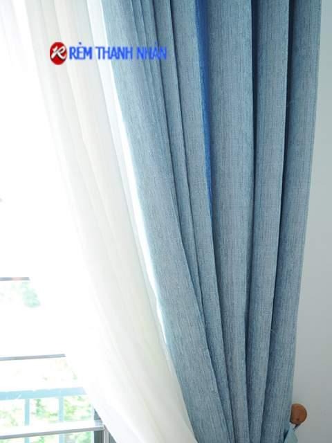 Rèm vải 2 lớp một màu chống nắng RV-90-13 + voan 085-44-60