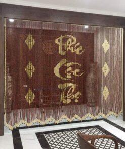 Rèm phong thủy hạt gỗ Hương che Ban thờ chữ thư pháp Phúc-Lộc-Thọ