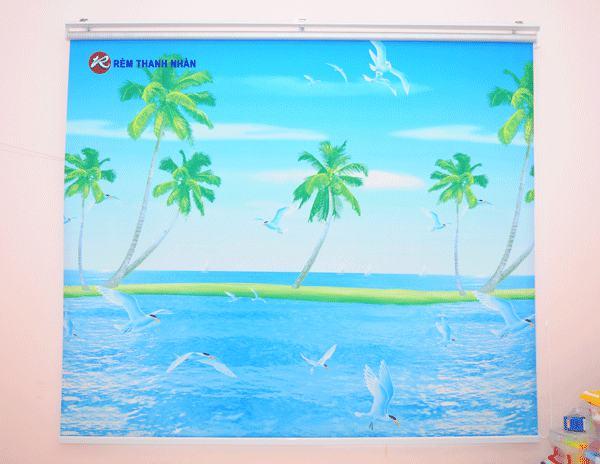 Rèm cuốn phòng trẻ với phong cảnh Biển