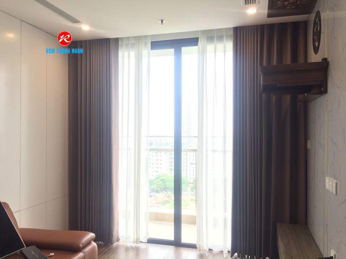 Rèm vải 2 lớp 1 màu phòng khách chung cư vinhomes west point