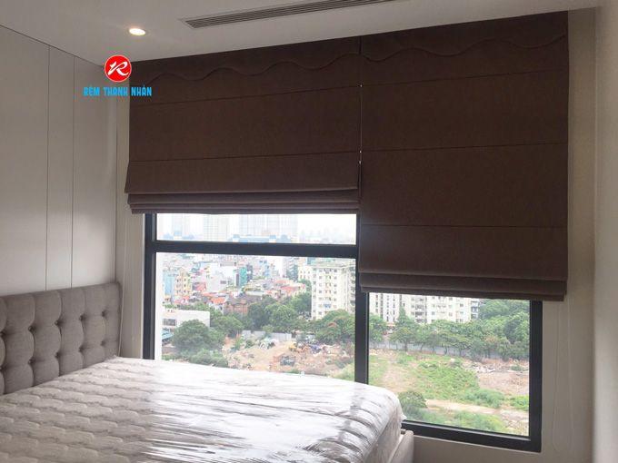 Rèm cửa ROMAN một màu phòng ngủ chung cư Vinhomes